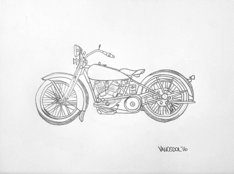 Vintage 1928 harley davidson motorcycle realism graphite pencil sketched art drawing print scott d van osdol 11x17 poster of my original
