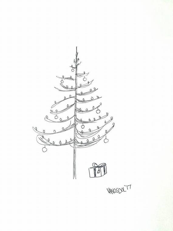 original christmas tree gel pen ink sketch art by scott d
