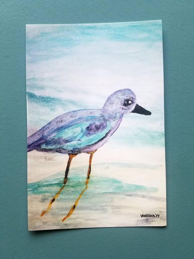 Young Baby Seagull Sea Gull Coastal Art Abstract Watercolor Painting Art  Print By Scott D Van Osdol Beach Ocean Waves Shore Bird Wildlife