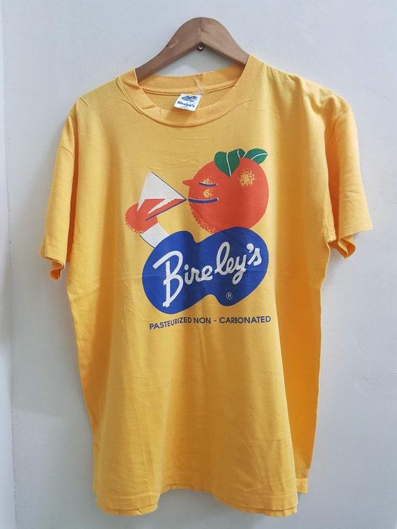 Vintage Soda Pop Single Stitch T Shirt L USA Bireley's 70's 80's Orange HOLES