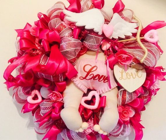Valentine S Day Deco Mesh Wreath Cupid Valentine S Etsy