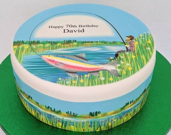 Father's day cake topper, fishing themed personalised fondant/icing print