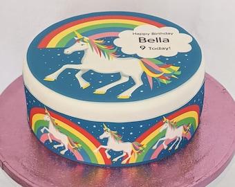 Unicorn/rainbow personalised fondant/icing cake topper