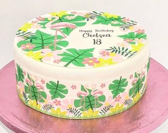 Funky flamingo cake topper, personalised fondant/icing print