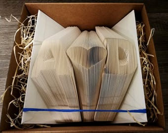 Folded Book Art - Personalized Gift Folded Book Art Initials  - Gift For Her/Him Special Occasions Book Folding Custom Anniversary Gift