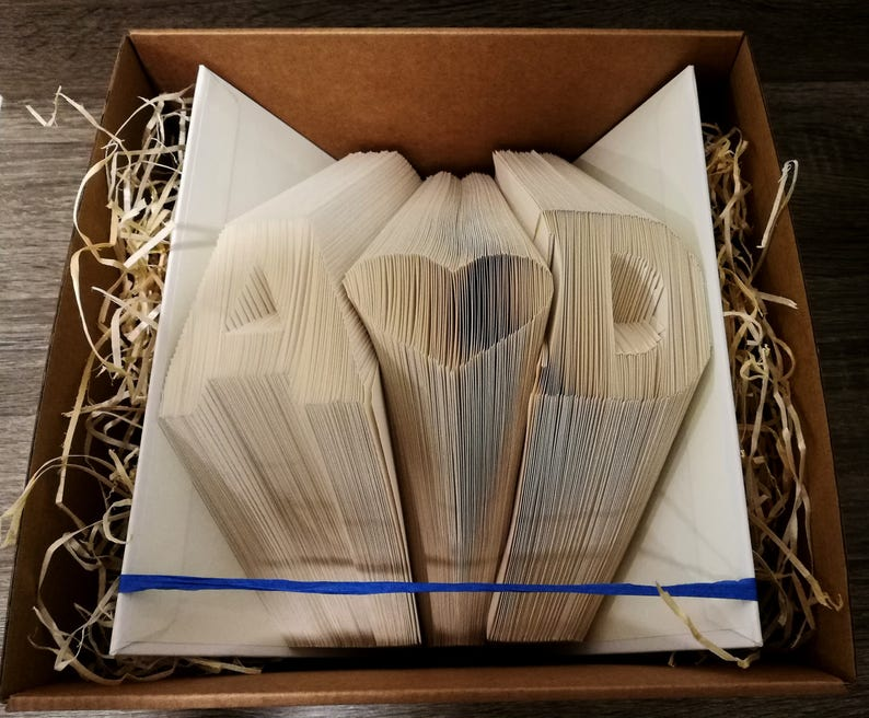 Folded Book Art  Personalized Gift Folded Book Art Initials image 0