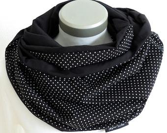 XXL Loop Stillschal extrabreit Schlauchschal Baumwolle Punkte schwarz-weiß Pünktchen dots