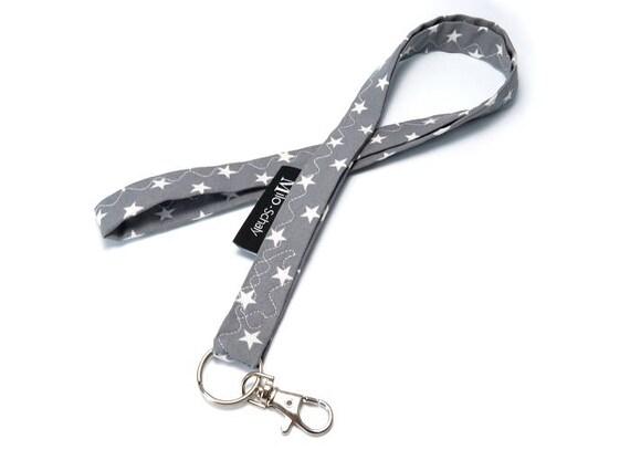 Schlüsselband lang dots grau-weiß Punkte Karabiner Handarbeit Pünktchen Dawanda