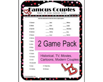 printable famous couples game wedding bridal shower games anniversary party