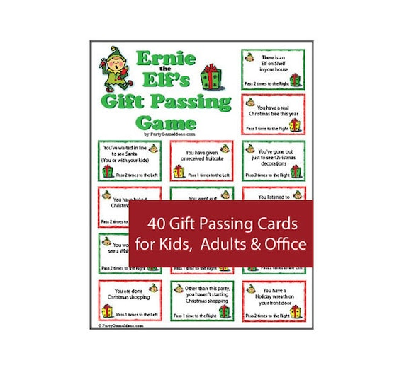 Christmas Gift Passing Game 40 Printable Gift Passing Cards Etsy