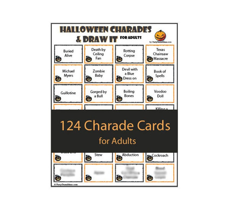 picture regarding Halloween Charades Printable named Halloween Charades Attract It for Teenagers and Grown ups - Printable Halloween Charades / Pictionary Design and style Activity