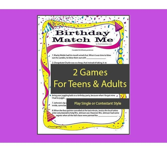 picture about Printable Match Game referred to as Birthday Activity Me - Printable Video game Recreation for Grownup and Teenager Birthday Get-togethers - Birthday Social gathering Online games