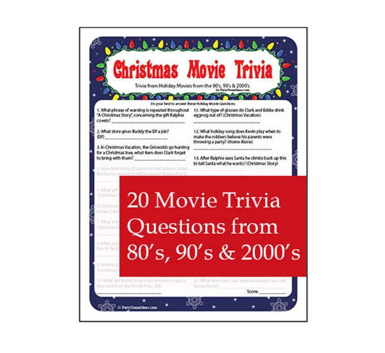image regarding Christmas Movie Trivia Printable called Xmas Online video Trivia Activity - Printable Xmas Getaway Video Quiz