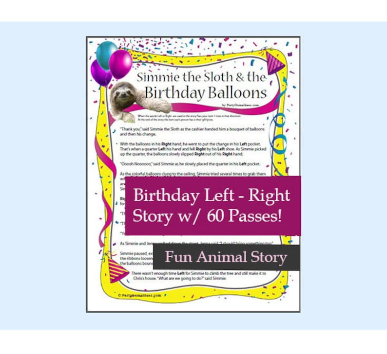 picture relating to Left Right Games Printable called Printable Birthday Still left Instantly Sport - Sloth the Birthday Balloons Printable Remaining Immediately Tale - Young children Birthday Occasion Recreation