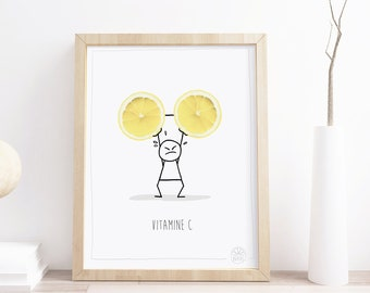 Poster 20x30 inch or 8x12 inch • VitamineC • Monsieur Citron • Poster InsidePapers • Humor and funny illustration • Minimalist Style