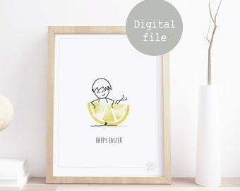 Printable poster to download • Happy Easter • ©InsidePapers • Lemon Juicy • Minimalism illustration • Scandinavian Style