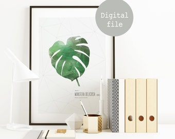 Printable poster to download • Monstera Deliciosa • ©InsidePapers • Tropical & Botanical • Minimalism illustration • Scandinavian Style