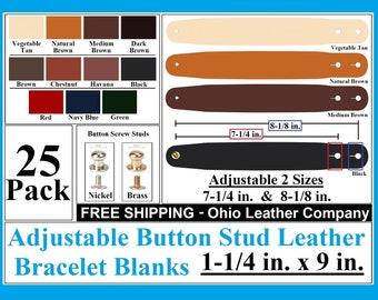 Adjustable Leather Bracelet Blanks 1-1/4 in x 9 in 25 Pack Adjustable Button Stud Leather Bracelet - Adjustable leather Bracelet Cuff Blanks