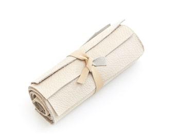 Genuine nubuck Italian cowhide leather scrap, off-white, cream