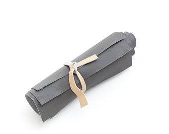 Genuine Italian cowhide leather scrap, dark grey