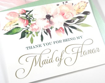 Thank You for being my MAID OF HONOR Card, Maid of Honor Gift, Maid of Honor Thank You Card, Bridesmaid Card, Bridesmaid Gift, Wedding Card
