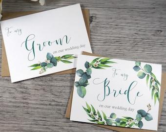 Set of 2, To My GROOM Card, To My BRIDE Card, Groom Card from Bride, Bride Card from Groom, Bride Gift for Groom, Greenery Wedding