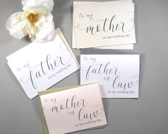 Set of 4 SHIMMER CARDS To My MOTHER Card To My Father Card Mother in Law Card Father In Law Card Mother Wedding Gift Father Gift & Mother wedding gift | Etsy