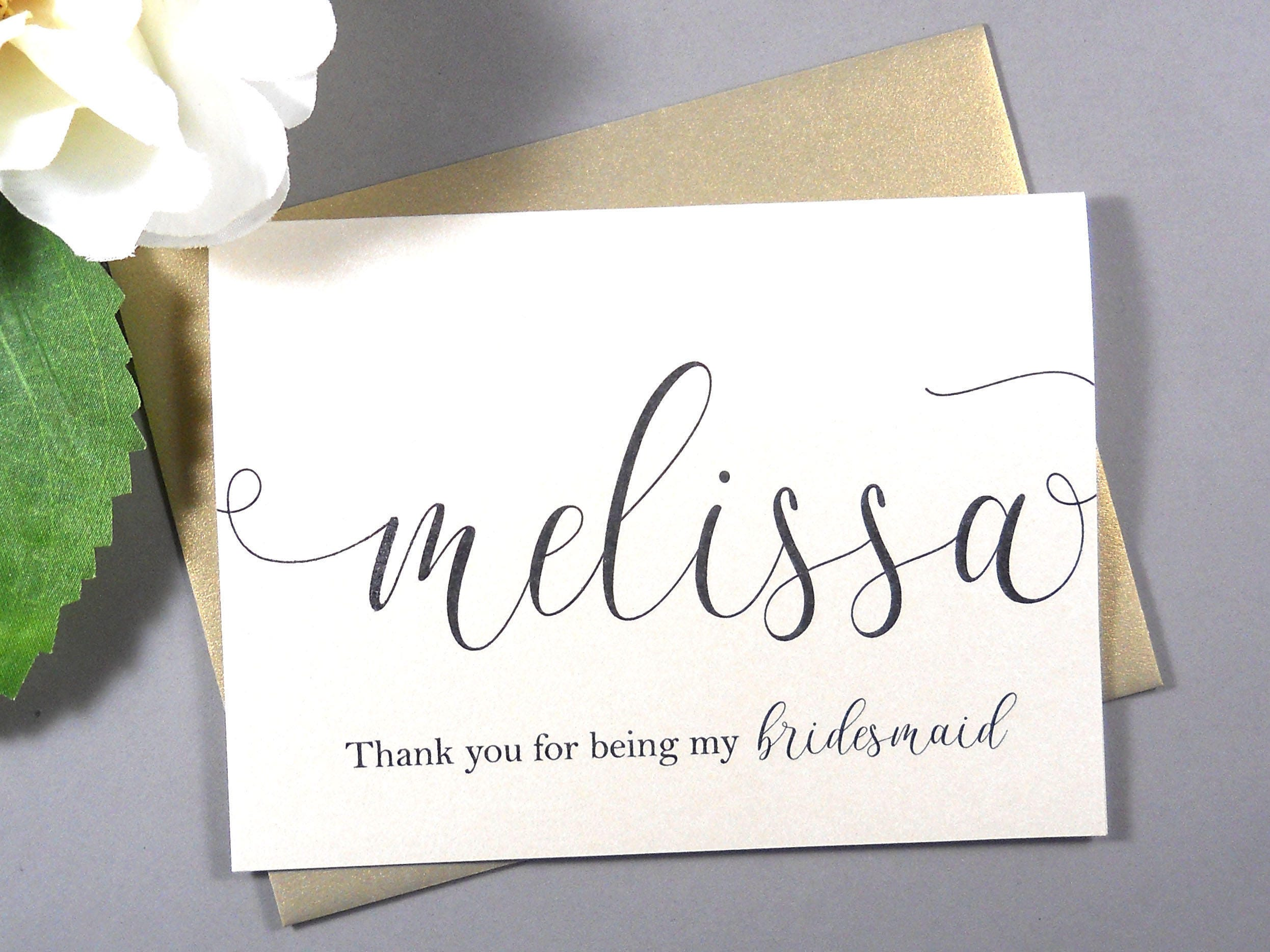 Shimmer Card Thank You For Being My Bridesmaid Card Etsy