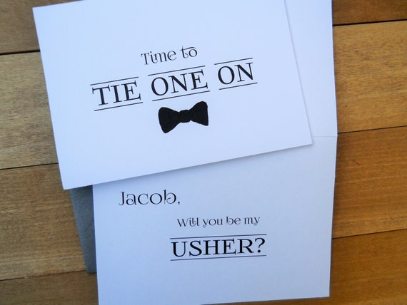 PERSONALIZED Time to Tie One On Card, Usher Card, Funny Usher Card, Usher Gift, Wedding Invitation, Wedding Note Card, Wedding Stationery