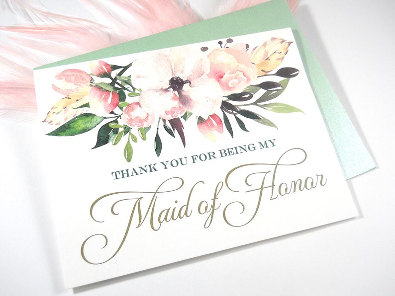 Thank You For Being My Maid Of Honor Card Maid Of Honor Gift Etsy