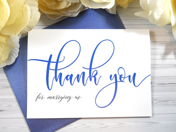 Color Officiant Thank You Card Thank You For Marrying Us Officiant Card Wedding Officiant Gift Wedding Thank You Cards Thank You Card