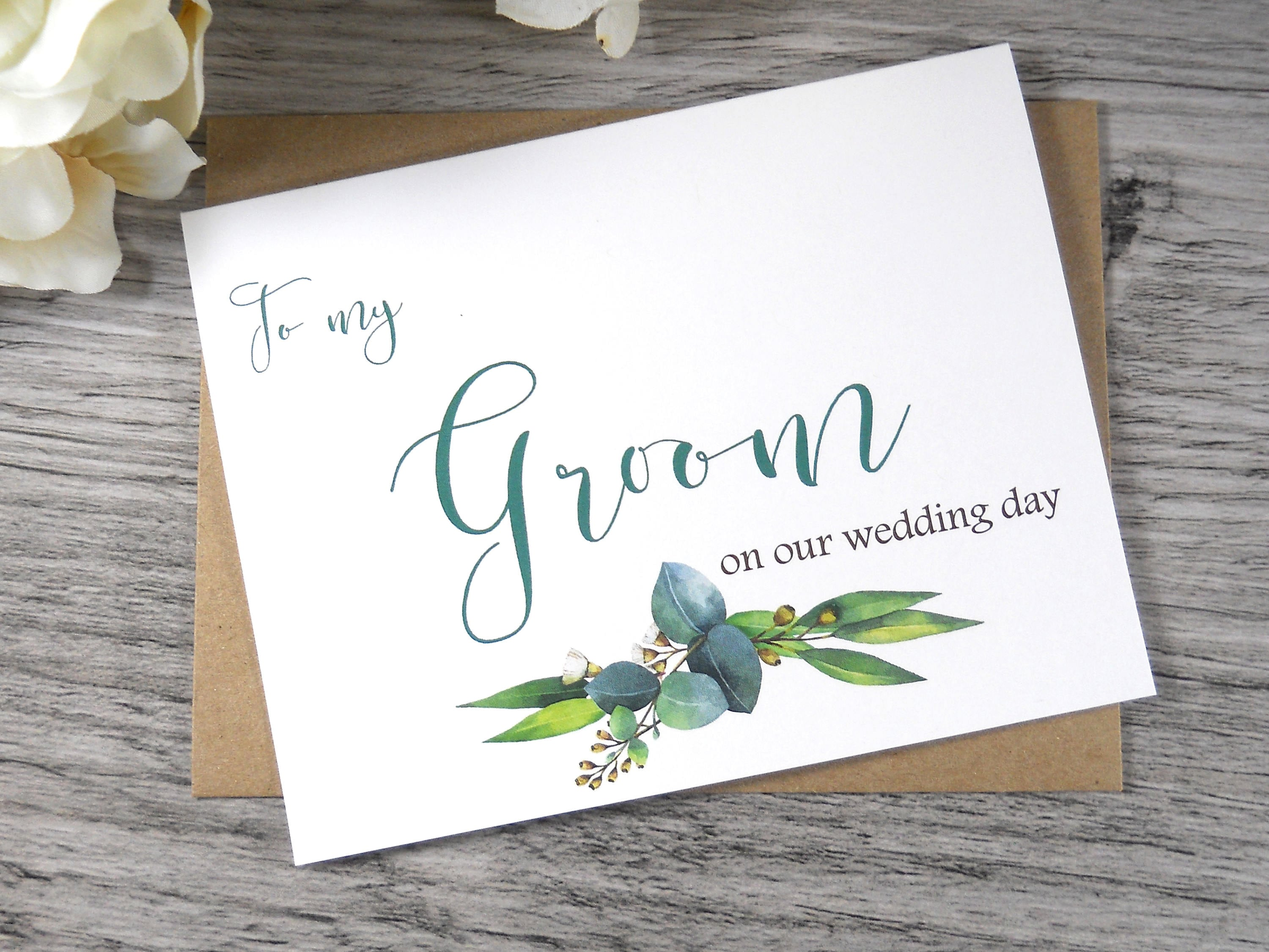 To My Groom On Our Wedding Day Card To My Groom Card Groom Etsy