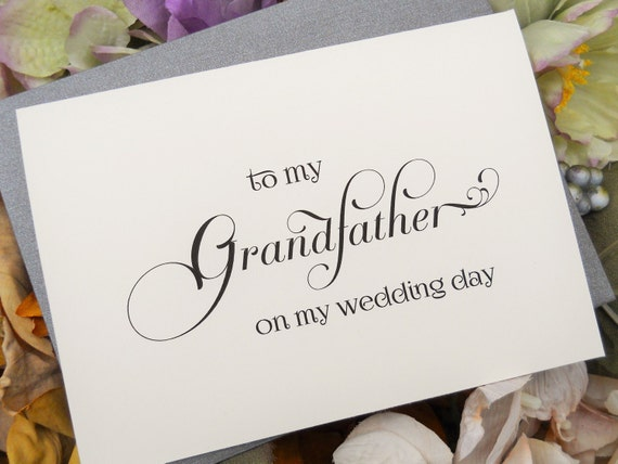 TO MY GRANDFATHER on my Wedding Day Card, Wedding Note Card, To My Grandfather Card, Wedding Stationery, Grandfather Gift