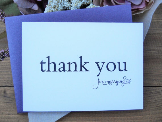 Officiant Thank You Card Wedding Thank You Cards Personalized Thank You Cards Wedding Vendor Thank You Cards Wedding Stationery