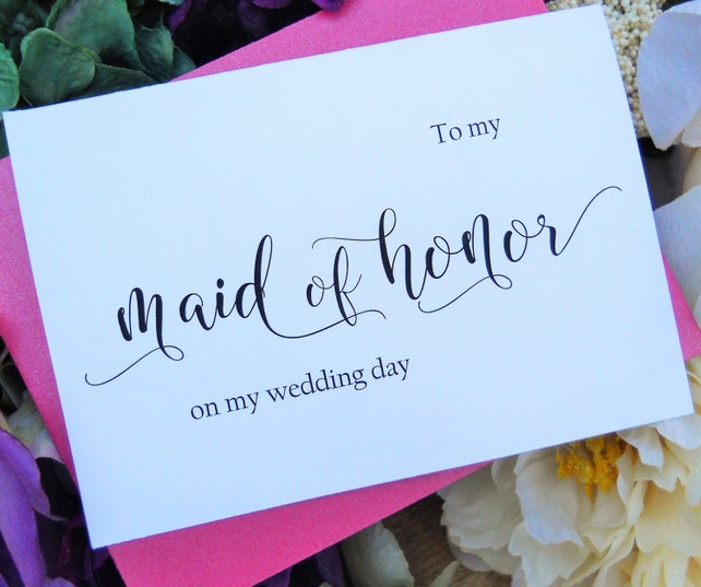 To My MAID of HONOR Card,  Shimmer Envelope, Wedding Party Cards, Maid of Honor Card, Wedding Stationery, Maid of Honor Gift