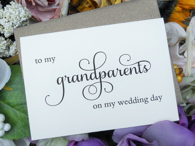 TO MY GRANDPARENTS on my Wedding Day Card, Wedding Note Card, To My Grandmother Card, To My Grandfather Card, Wedding Stationery