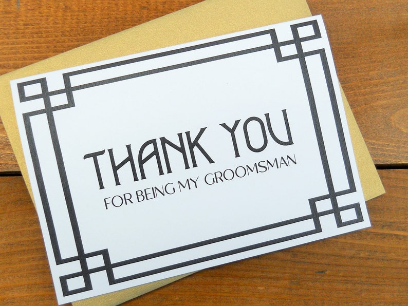 Groomsman Thank You Cards Thank You Card Wedding Stationery Thank You for being my GROOMSMAN Card Shimmer Envelope Wedding Note Card