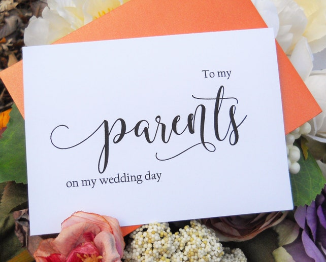 TO MY PARENTS on my Wedding Day Card, Shimmer Envelope, Wedding Note Card, To My Mother Card, To My Father Card, Wedding Stationery