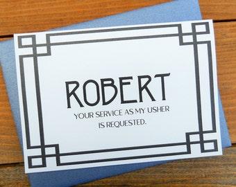 PERSONALIZED Will You Be My USHER Card, Usher Card, Groomsman Card, Ask Usher Card, Ask Groomsman Card, Art Deco Wedding, Be My Groomsman