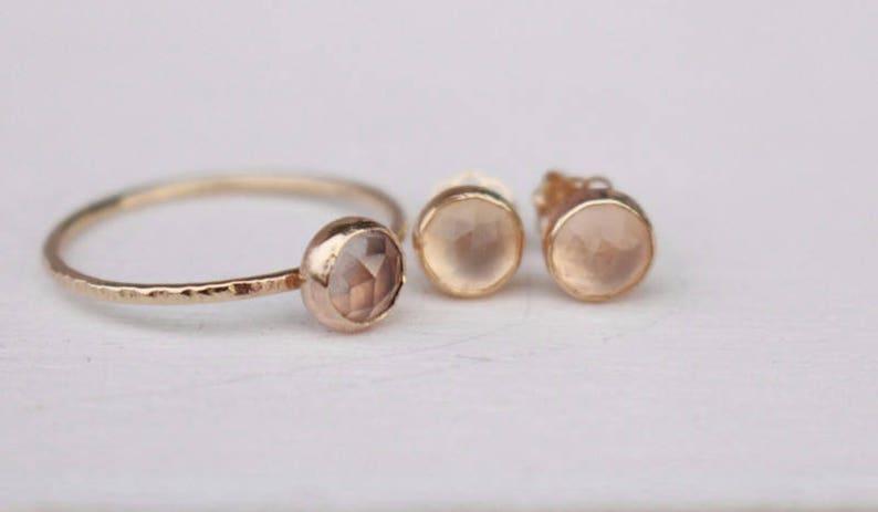 Rose quartz ring and earrings set 14 k gold