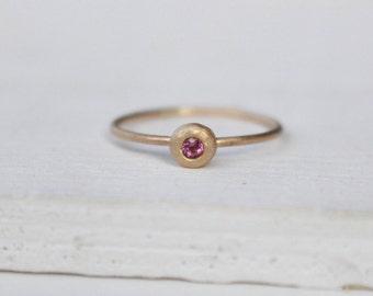 14 K  Gold stackable Ring with Rhodolithe Garnet