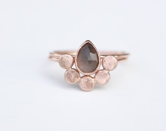 14 k Rose Gold Moonstone engagement rings set