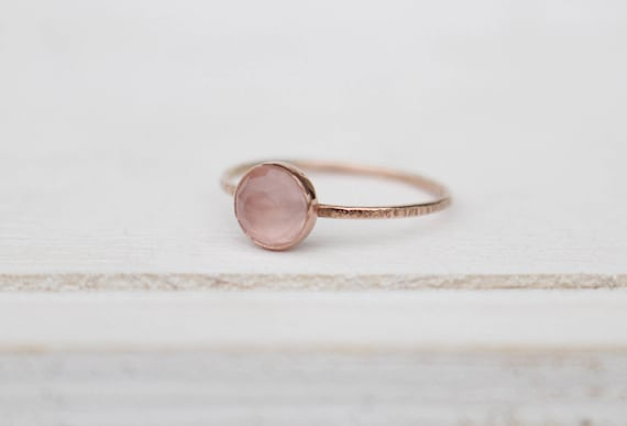 Bague en or rose de 14 k avec quartz rose   Etsy