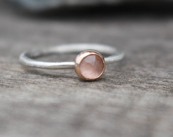 14 k gold and Sterling Silver Ring with Rose quartz