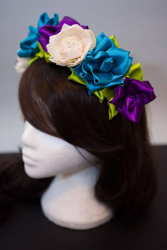 Sample sale photoshoot flower crown Boho mexican folk wedding Alternative  bride floral headpiece Woodland festival headband ... 5421f87371f
