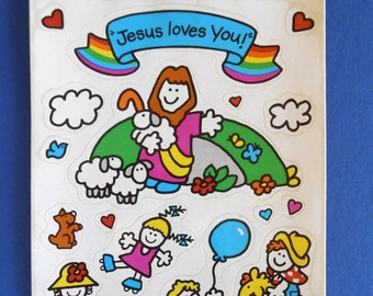 Jesus loves you card etsy 1985 kid stickers jesus loves you sonrise creations bible story stickers religious m4hsunfo Images