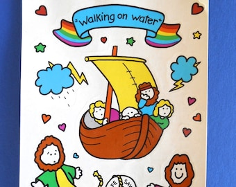 Vintage bible tags etsy kids religious stickers walking on water 1985 sonrise creations inc bible story stickers m4hsunfo Images