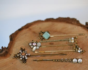 Antique Brass Hair Bobby Pins Wedding Bridal Set of 6