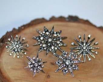 Star Starburst Snowflake Brooch Rhinestone Crystal Art Deco Clothing Decor Accessory Clip Pin Pendant Set 5