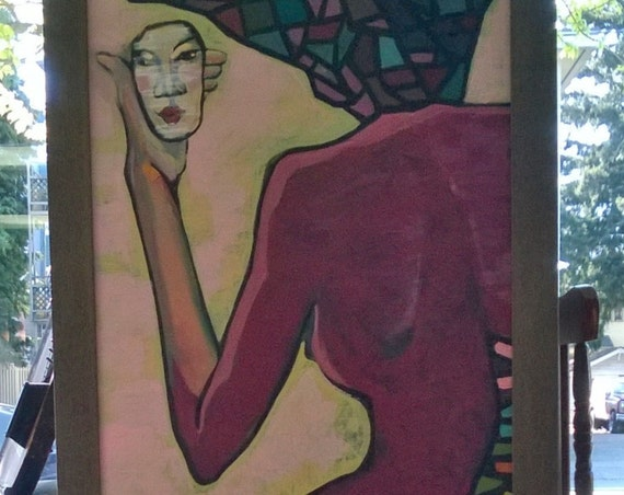 """MIRROR 20x39"""" oil on canvas, nude art, wall decor, original painting by Nguyen Ly Phuong Ngoc"""